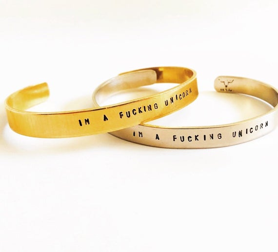 Im A Fucking Unicorn Cuff Bracelet   Stamped Jewelry   Unicorn