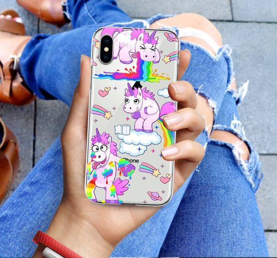 Iphone X Clear Rubber Case Unicorn Emoji Iphone 7 Clear Case