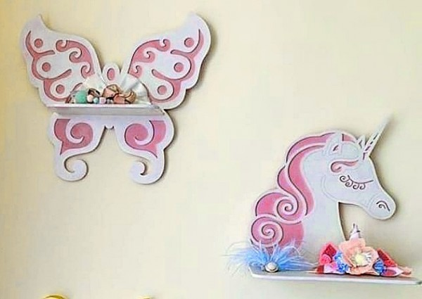Laser Cut Wooden Shelves Butterfly Unicorn Shelf Free Vector Cdr
