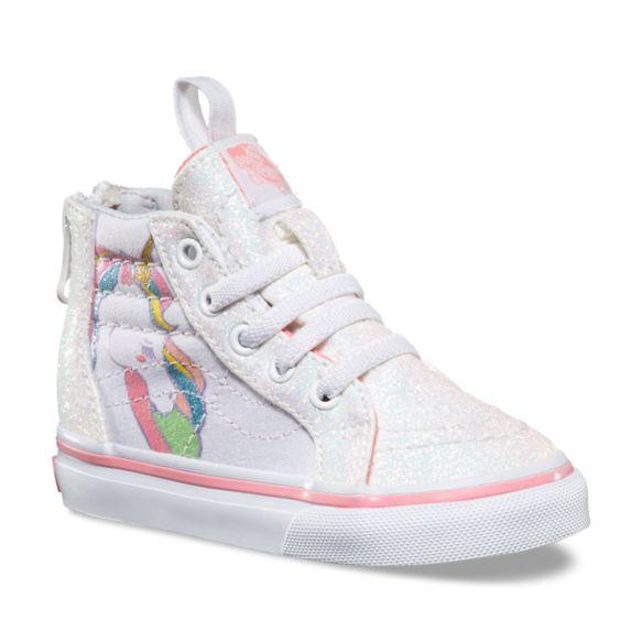 Last Vans Toddler Unicorn Sk8 Hi Zip Shoes Rainbow White Glitter