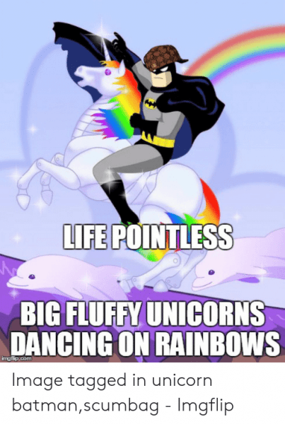 Life Pointless Big Fluffy Unicorns Dancing On Rainbows Imgflipcom