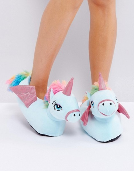 Loungeable Flying Unicorn Slipper Multicoloured , Shoes Slippers