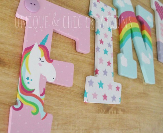 Magical Rainbows Stars And Unicorns Hand Painted Personalized
