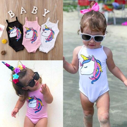 Newborn Toddler Kids Baby Girls Unicorn One Piece Swimsuit