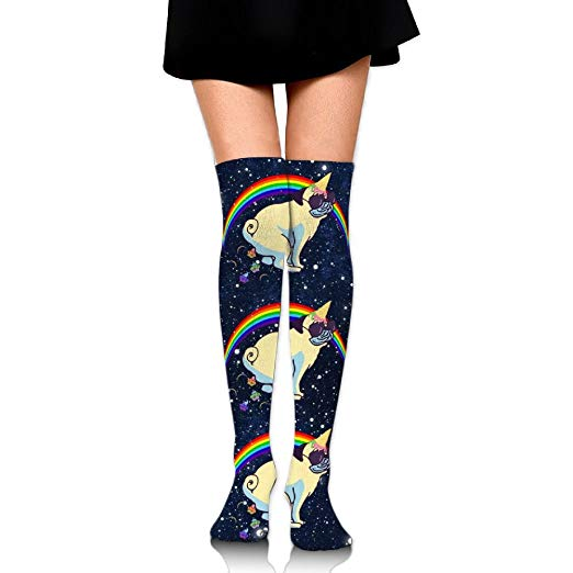 Polka Dot Funny Unicorn Pug Rainbow Printed Athletic Socks Over