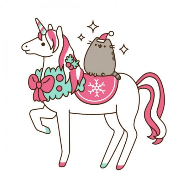 Pusheen The Cat Kawaii Emoji Riding A Unicorn