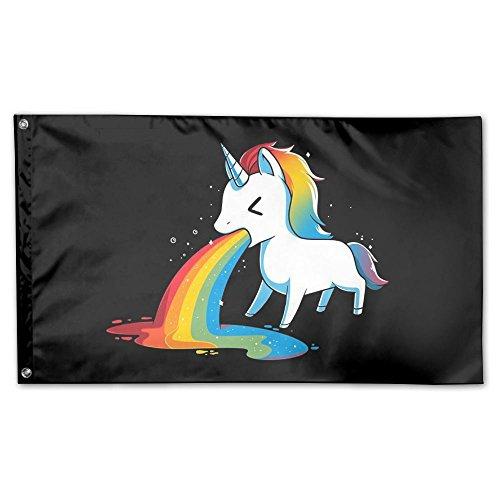 Qinf Flag Funny Rainbow Unicorn Home Garden Flags