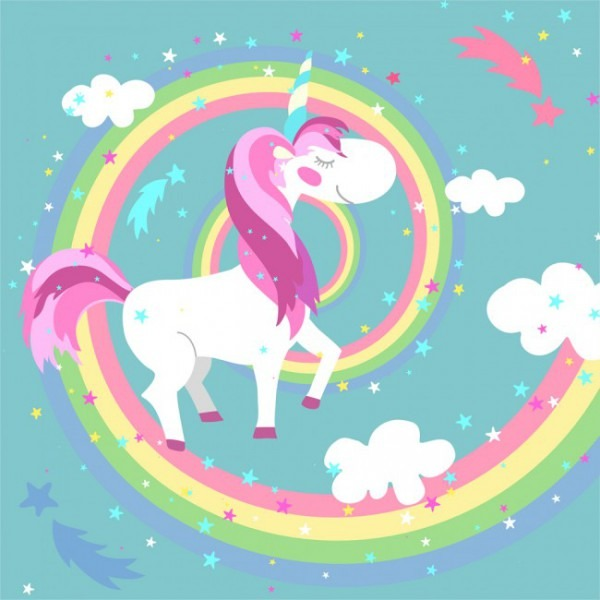 Rainbow, Clouds & Unicorn Wallpaper Wall Mural