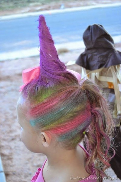 Rainbow Unicorn Hair For Girls Crazy Hair Day Ideas Via Stay At