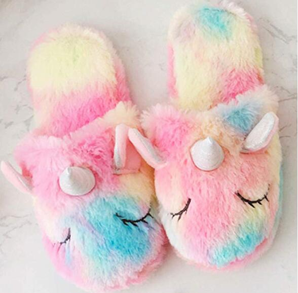 Rainbow Unicorn Slippers Cute Fluffy Girls Slippers Cozy Plush