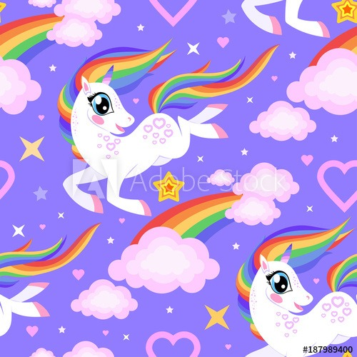 Seamless Pattern With A Cartoon Unicorn And Rainbow  For Fabric