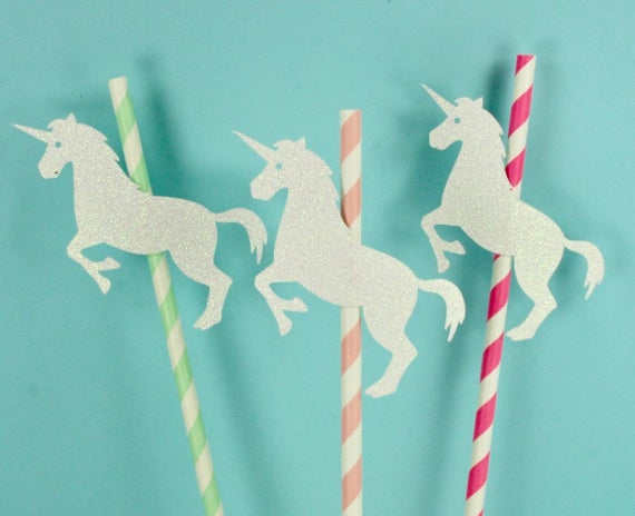 Set Of 6 Full Body Unicorn Cupcake Or Cake Toppers On Striped