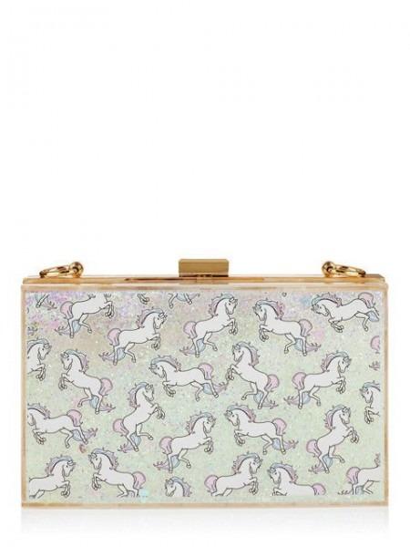 Skinnydip Unicorn Glitter Clutch Bag