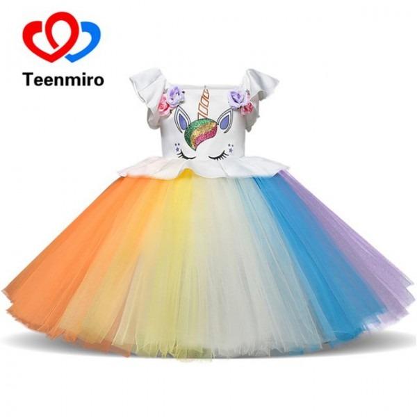 Teenmiro Girls Dresses 2019 Unicorn Party Dress For Kids Vestido