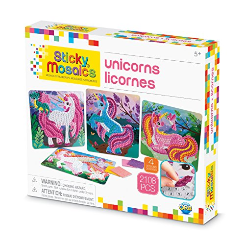 The Orb Factory Sticky Mosaics Unicorns Arts & Crafts, Pink Teal