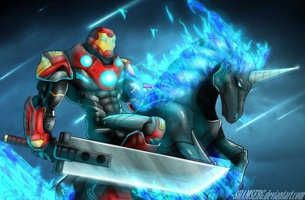 This Is Just Iron Man Riding A Unicorn With A Ff Sword  Nothing To
