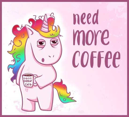 Tired Unicorn Says  Goodmorning! Wish Your  Friends With  123g