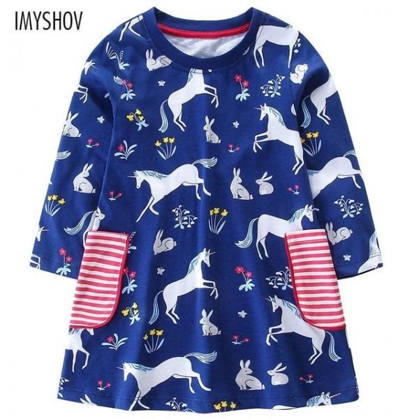 Toddler Kids Dresses For Girls Long Sleeve Animal Print Unicorn