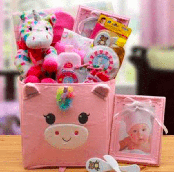 Unicorn Baby Girl Gift Basket