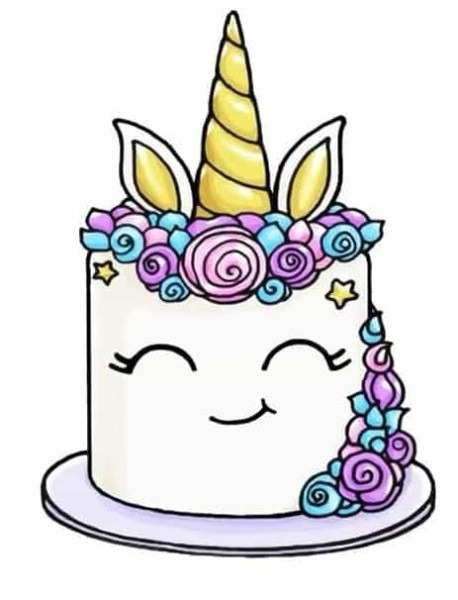 Unicorn Cake Drawing Uploaded By ♡shape Of You♡