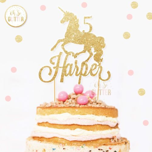 Unicorn Cake Topper Glitter Birthday Age Party Custom Magical