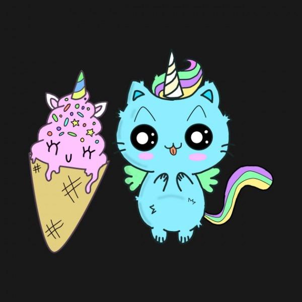 Unicorn Cat Ice Cream Waffle Rainbow