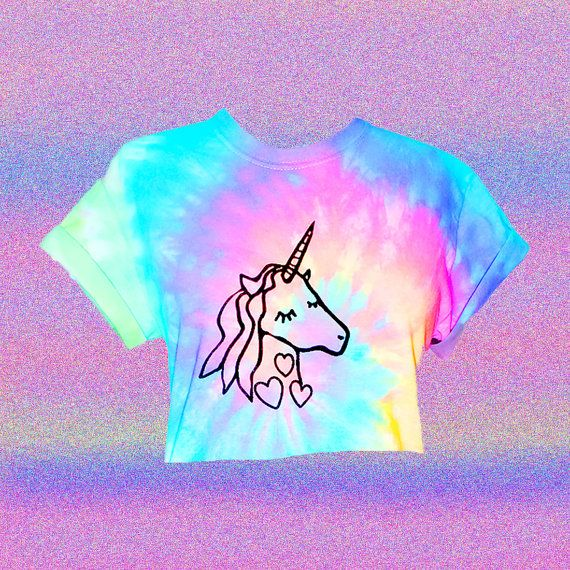 Unicorn Crop Top Pastel Crop Top Hand Dyed By Foxcultvintage In