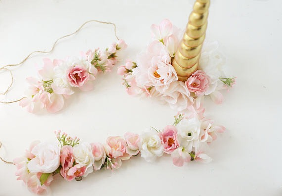 Unicorn Horn, Flower Crown And Bridle Halter Flowers Blush Pink