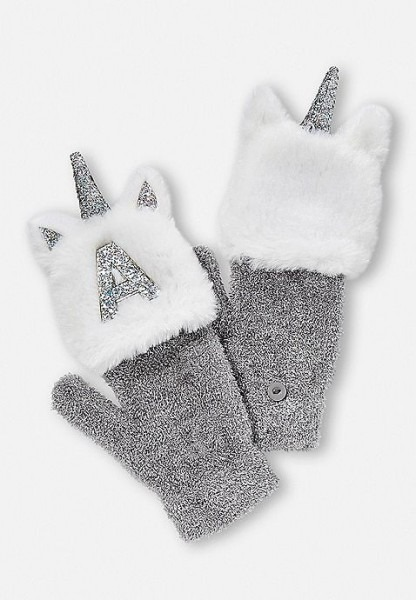 Unicorn Initial Flip Top Gloves