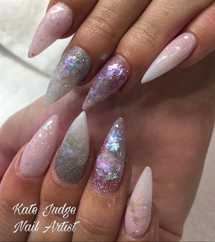 Unicorn Inspired Pink Nails