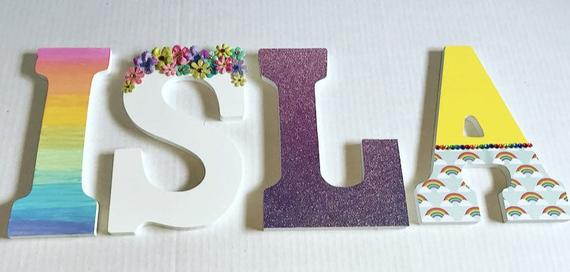 Unicorn Inspired Wooden Letters