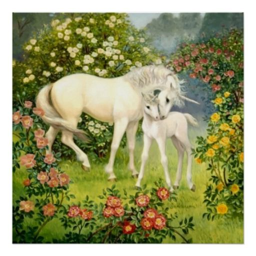 Unicorn Mom And Baby Among Blossoms In The Spring Poster In 2019