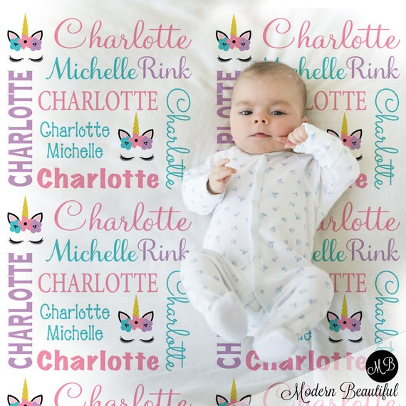 Unicorn Name Baby Blanket Personalized Unicorn Baby Gift