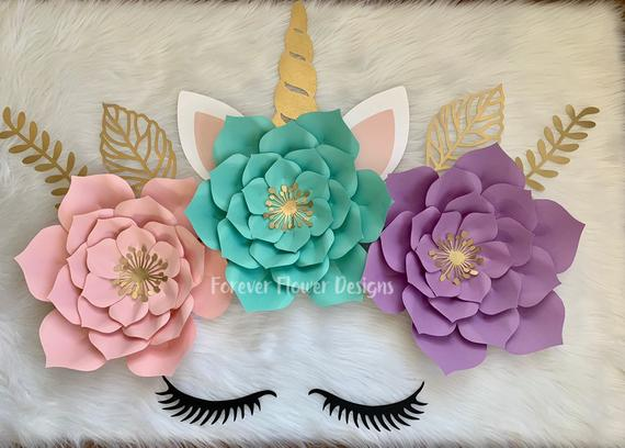 Unicorn Paper Flower Decor Paper Flower Wall Decor Unicorn