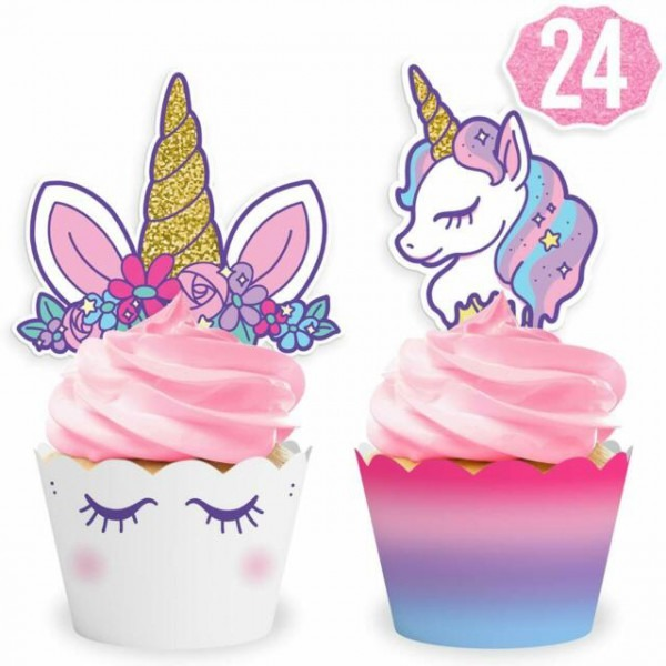 Unicorn Party Paper Cupcake Wrappers Toppers For Kids Birthday