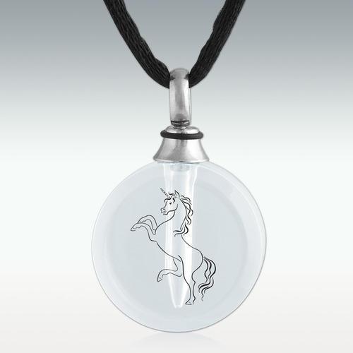 Unicorn Round Crystal Cremation Jewelry
