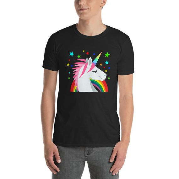 Unicorn Shirt Rainbow Stars Short