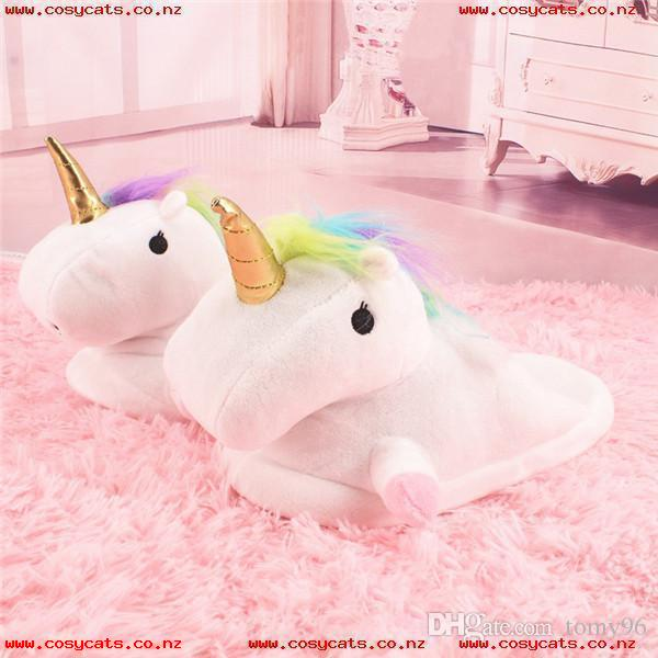 Unicorn Slippers Cute Cartoon Plush Shoes Indoor Warm Cotton Shoes