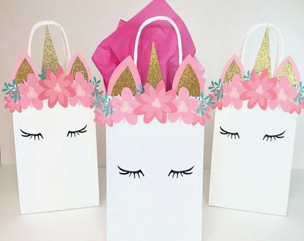 Unicorn Themed Birthday Party Favor Bags, Party Favor Bags For