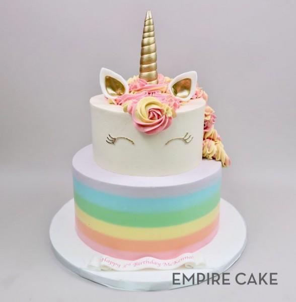 Unicorn With Buttercream Rainbow (two Tier)