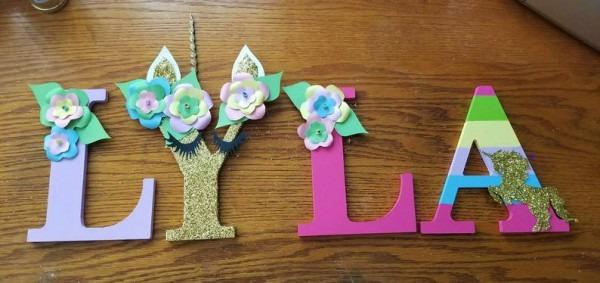 Unicorn Wooden Letter Unicorn Birthday Party Supplies