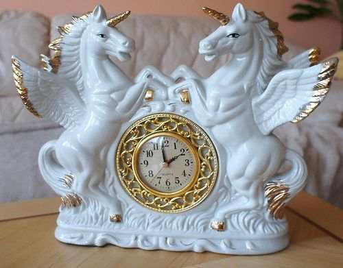White Enamel Ceramic Horses Unicorn Gold Angel Shabby Chic Clock