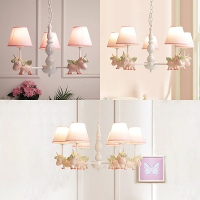 White Finish Cartoon Unicorn Chandelier Metallic 3 5 6 Lights