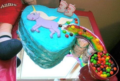 Unicorn Pooping Rainbow Cake