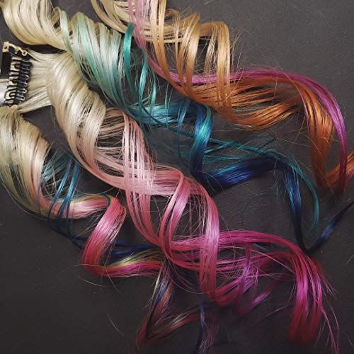 14  Straight  613 Blonde Rainbow Unicorn Opal Dip Dye Clip In