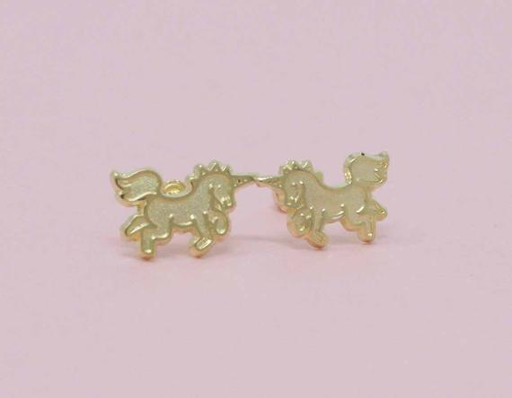 14k Unicorn Stud Earrings14k Gold Unicorn Stud Earrings 14k