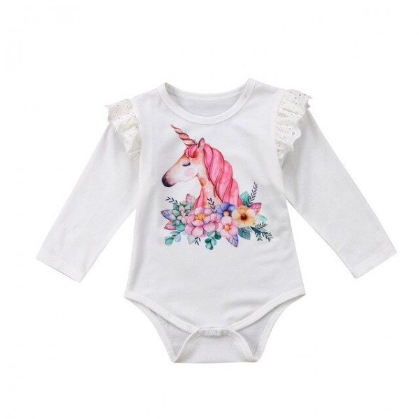 2018 Spring Baby Girl Romper Unicorn Print Baby Clothes Newborn