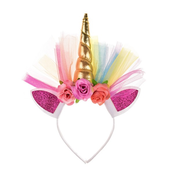 2019 Gold Horn Headband Shiny Unicorn Horn Ears Flower Headband