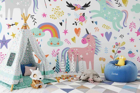 3d Unicorn Removable Wallpaper,peel And Stick Wall Mural, Floral