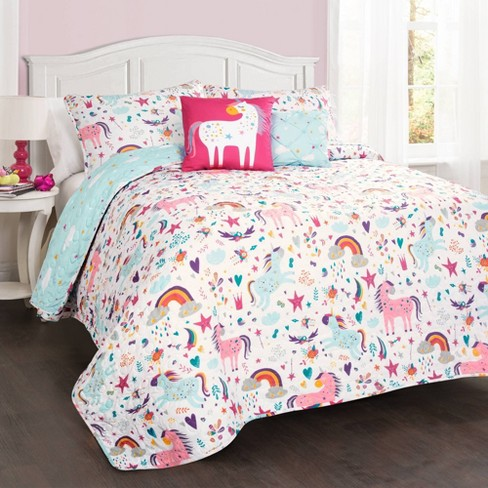 4pc Twin Unicorn Heart Bedding Set With Unicorn Throw Pillow White
